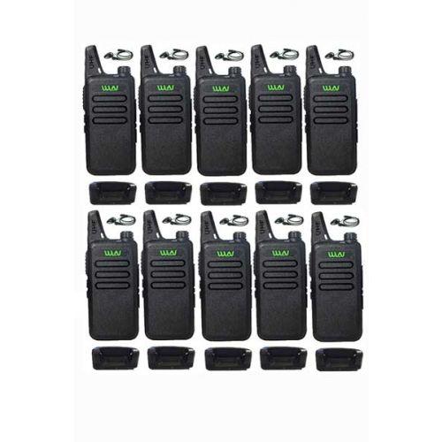Set van 10 stuks WLN KD-C1 Zwart UHF mini Portofoon 5Watt met D-shape oortje