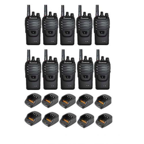 Set van 10 Wouxun KG-968 UHF portofoons IP66 10Watt met Bluetooth