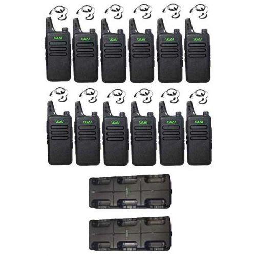 Set van 12 stuks WLN KD-C1 Zwart 5Watt met met multilader en G-shape headset