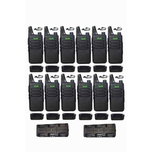 Set van 12 stuks WLN KD-C1 Zwart 5Watt met met multilader en D-shape oortje