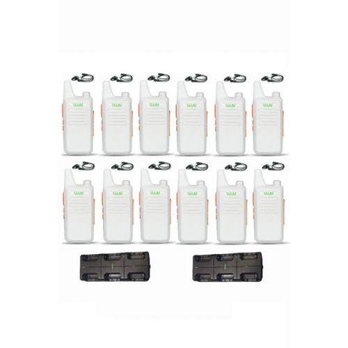 Set van 12 stuks WLN KD-C1 Wit 5Watt met met multilader en D-shape headset