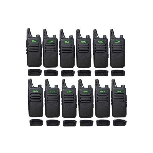 Set van 12 stuks WLN KD-C1 Zwart UHF mini Portofoon 5Watt Portofoon met 2 multiladers