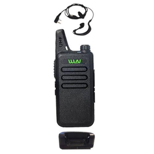 WLN KD-C1 Zwart UHF mini Portofoon 5Watt met G-shape oortje
