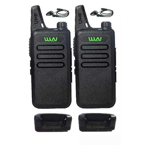 Set van 2 stuks WLN KD-C1 Zwart UHF mini Portofoon 5Watt met D-shape oortje