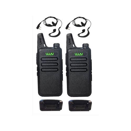 Set van 2 stuks WLN KD-C1 Zwart UHF mini Portofoon 5Watt met G-shape oortje