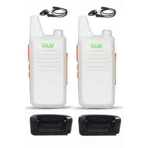 Set van 2 stuks WLN KD-C1 Wit UHF mini Portofoon 5Watt met D-shape headset