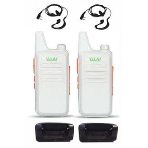 Set van 2 stuks WLN KD-C1 Wit UHF mini Portofoon 5Watt met G-shape headset
