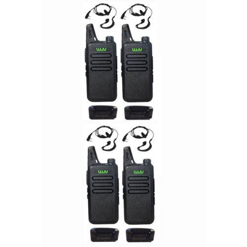 Set van 4 stuks WLN KD-C1 Zwart UHF mini Portofoon 5Watt met G-shape oortje