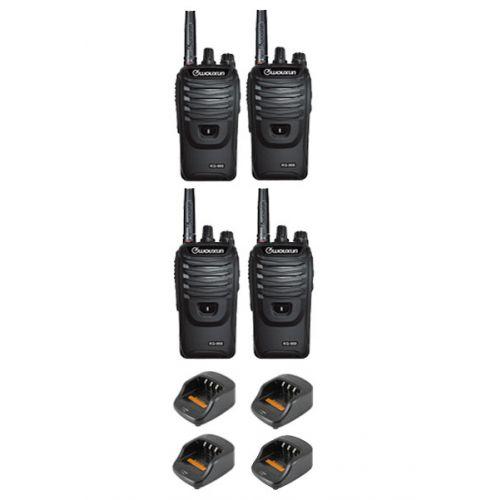 Set van 4 Wouxun KG-968 UHF portofoons IP66 10Watt met Bluetooth
