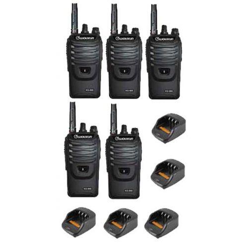 Set van 5 Wouxun KG-968 UHF portofoons IP66 10Watt met Bluetooth