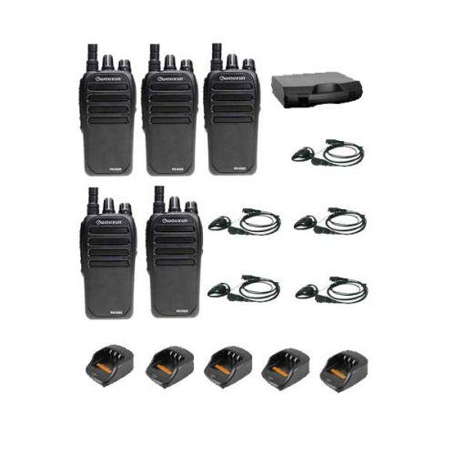 Set van 5 Wouxun KG-D828 DMR portofoons met D-shape headsets en koffer