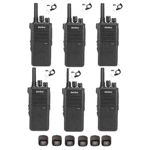 Set van 6 Inrico T522A IP66 4G LTE POC Zello Portofoon K1 2-Pins met beveiliging oortje