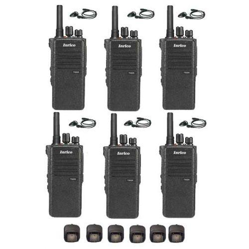 Set van 6 Inrico T522A IP66 4G LTE POC Zello Portofoon K1 2-Pins met D-shape oortje