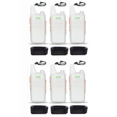 Set van 6 stuks WLN KD-C1 Wit UHF mini Portofoon 5Watt met D-shape headset