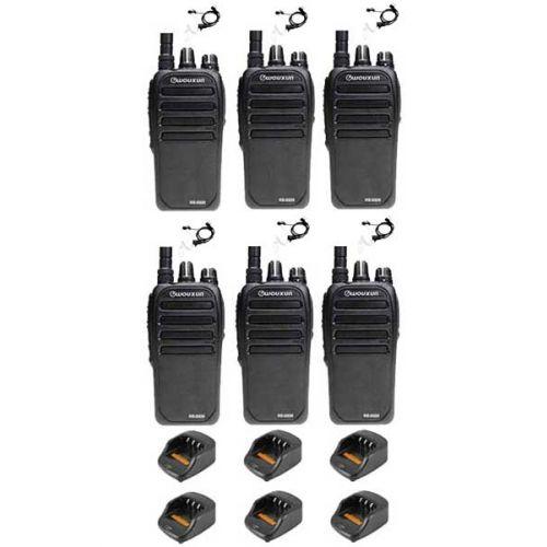 Set van 6 Wouxun KG-D828 Dualband DMR portofoons met beveiliging oortje