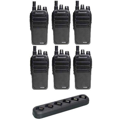 Set van 6 Wouxun KG-D828 Dualband DMR Tier2 portofoons met multilader