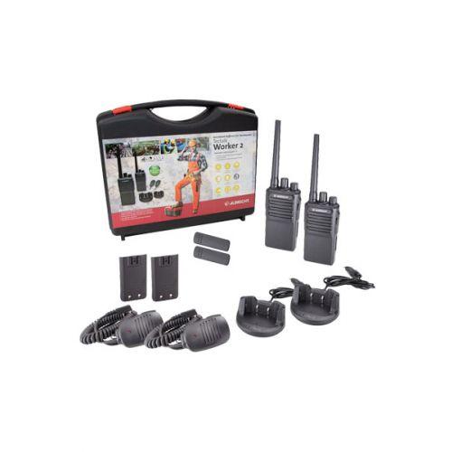 Albrecht Tectalk Worker 2 PMR446 walkie talkie set in Koffer met handmicrofoons