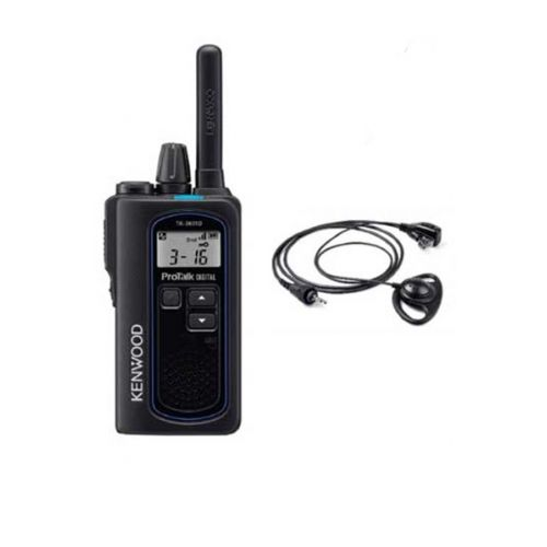 Kenwood TK-3601D IP67 Digitale mini portofoon met KHS-47  headset en tafel lader