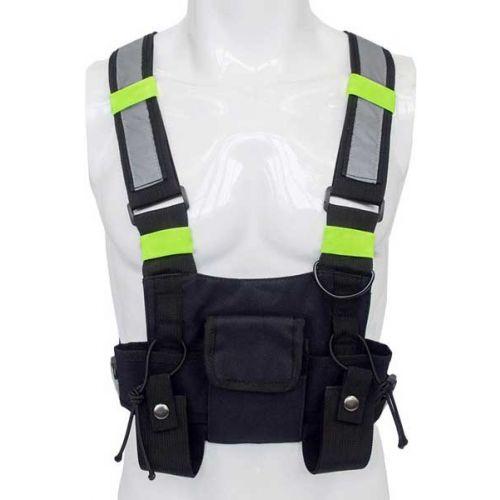 Portofoon harnas borst draagtas universeel heavy duty met reflectie strepen