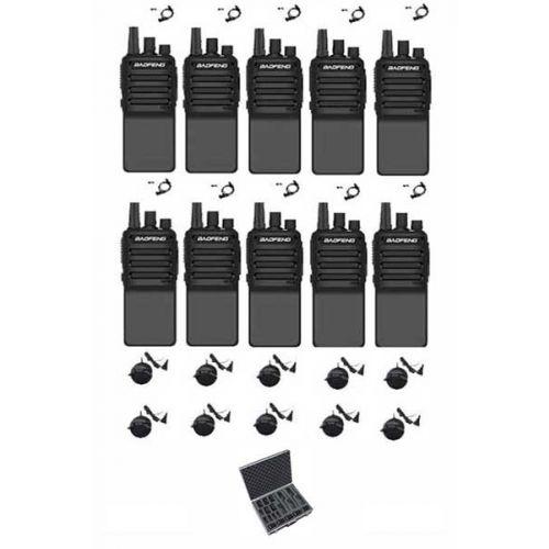 Set van 10 Baofeng C2 UHF 5Watt portofoons met beveiliging oortjes en koffer