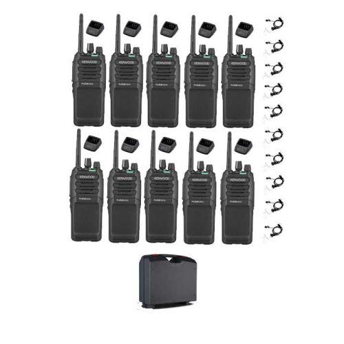 Set van 10 Kenwood TK-3701D met beveiliging headset, koffer en tafelladers