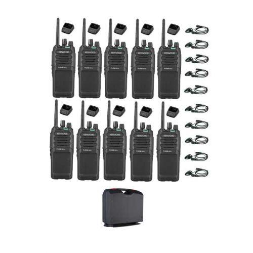 Set van 10 Kenwood TK-3701D met d-shape headset, koffer en tafellader