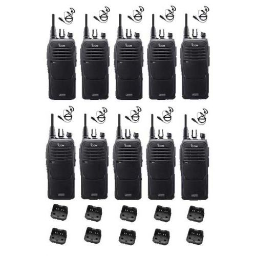 Set van 10 Icom IC-F29DR2 Digitaal portofoons met G-shape headsets