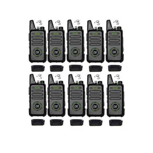 Set van 10 WLN KD-C1 Plus Zwarte mini Portofoon met g-shape headset
