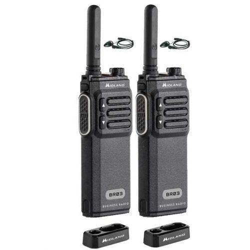 Set van 2 Midland BR03 UHF PMR446 met 2 d-shape headsets en tafellader