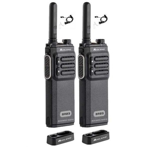 Set van 2 Midland BR03 UHF PMR446 met 2 beveiliging headsets en tafellader