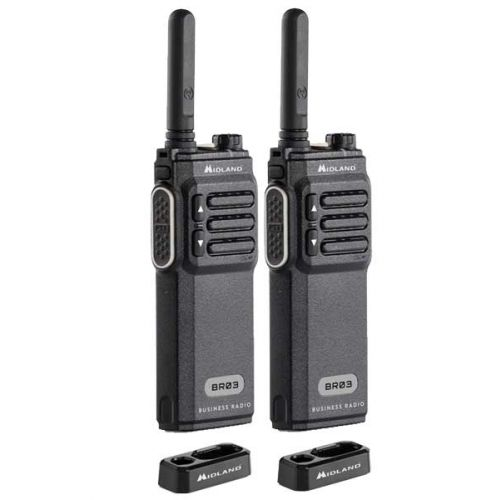 Set van 2 Midland BR03 UHF PMR446 Slim line portofoon met tafellader