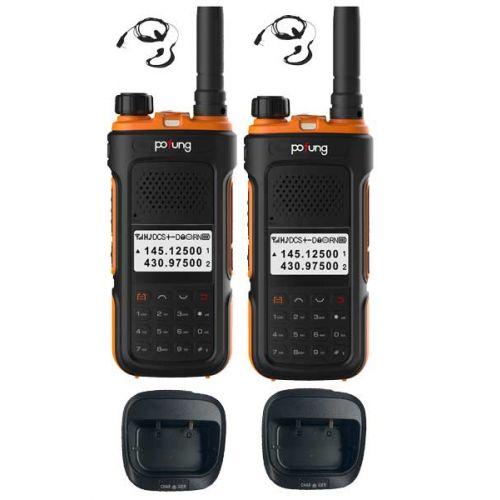 Set van 2 Pofung P10UV Dualband VHF en UHF IP55 5Watt portofoons