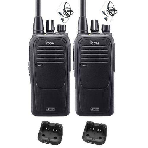 Set van 2 Icom IC-F29DR2 Digitaal portofoons met beveiliging headsets