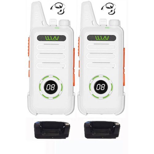 Set van 2 WLN KD-C1 Plus Witte mini Portofoon met g-shape headset