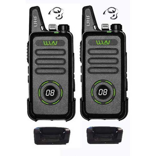 Set van 2 WLN KD-C1 Plus Zwarte mini Portofoon met g-shape headset