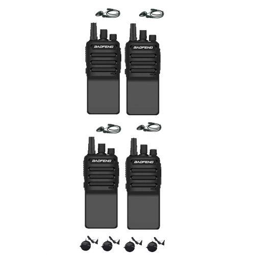 Set van 4 Baofeng C2 UHF 5Watt portofoons met D-shape oortjes