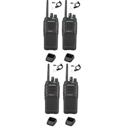 Set van 4 Kenwood TK-3701D IP55 Portofoon met beveiliging oortje en tafellader