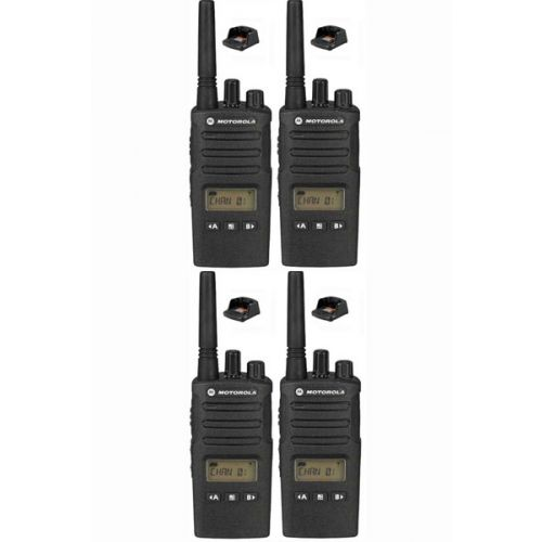 Set van 4 Motorola XT460 IP55 PMR446 Portofoon met display en tafellader