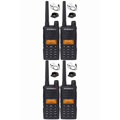 Set van 4 Motorola XT660D IP54 Digitale PMR446 met beveiliging headset en tafellader