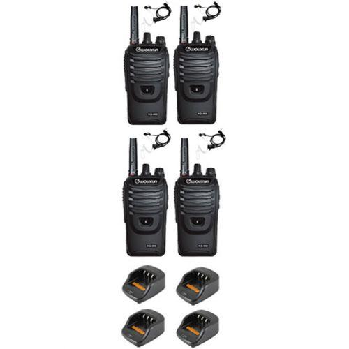 Set van 4 Wouxun KG-968 UHF portofoons IP66 10Watt met beveiliging oortje
