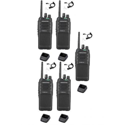 Set van 5 Kenwood TK-3701D IP55 Portofoon met beveiliging oortje en tafellader