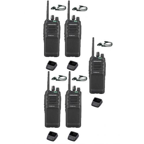 Set van 5 Kenwood TK-3701D IP55 Portofoon met D-shape oortje en tafellader