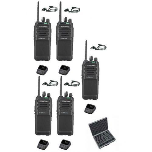 Set van 5 Kenwood TK-3701D met d-shape oortje, koffer en tafellader