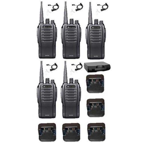 Set van 5 Midland G10 Pro Portofoon met tafellader, koffer en beveiliging headset