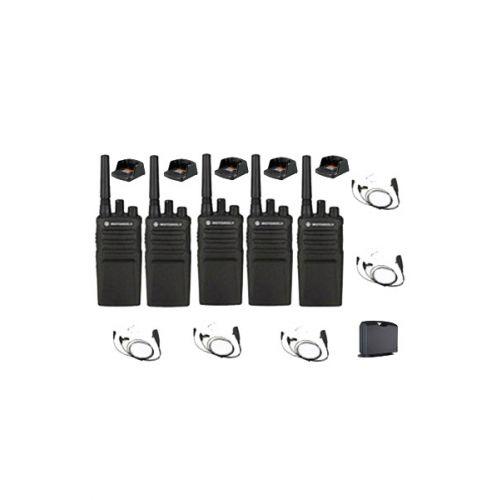Set van 5 Motorola XT420 UHF IP55 PMR446 met beveiliging headsets M1, laders en koffer