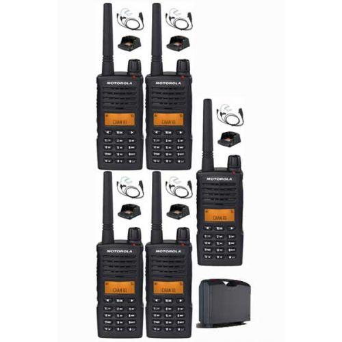 Set van 5 Motorola XT660D IP54 Digitale PMR446 met koffer, beveiliging headset en tafellader