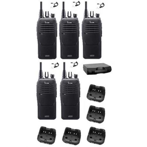 Set van 5 Icom IC-F29DR2 portofoons met beveiliging headsets en koffer