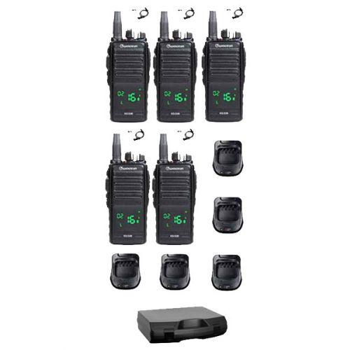 Set van 5 Wouxun KG-D26 IP67 Portofoons met tafelladers en beveiliging oortjes en koffer
