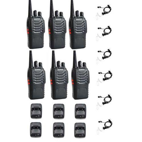 Set van 6 Baofeng BF-888s UHF 5Watt Portofoons met beveiliging headset