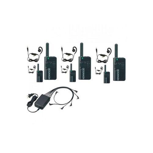 Set van 6 stuks Kenwood PKT-23E IP54 met KHS-34 headsets en multilader